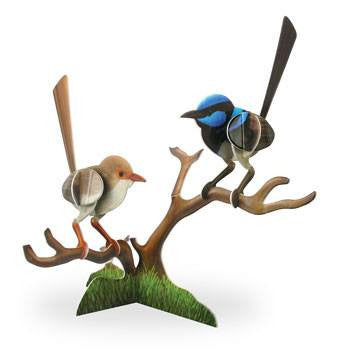 Blue Wren 3D Construction Postcard
