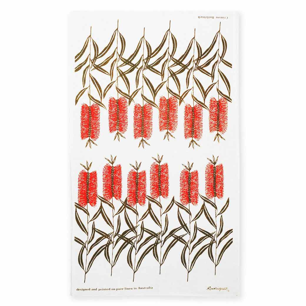 Australian Made Linen Bottlebrush Tea Towel by Rodriquez
