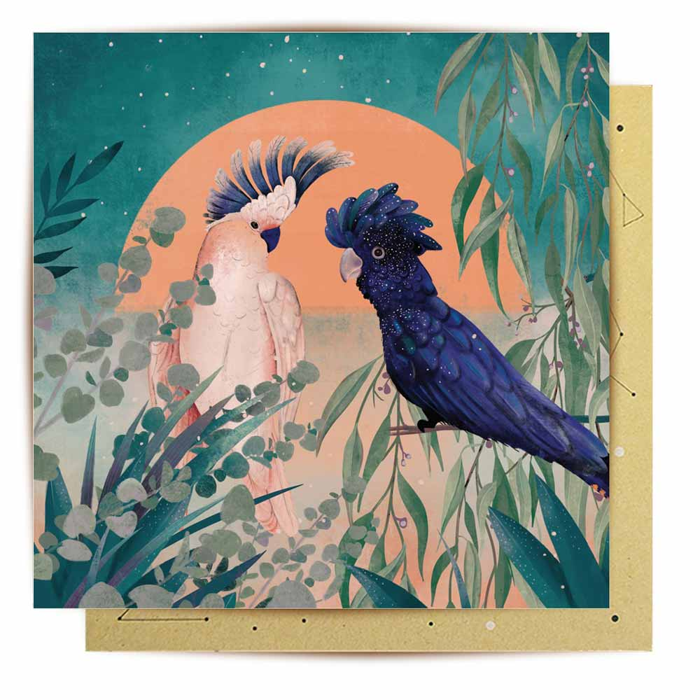 Australiana Greeting Cards Black Cockatoo by La La Land