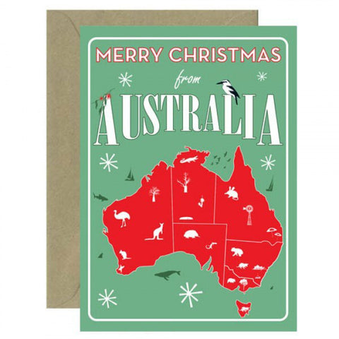 Australian Made Gifts & Souvenirs with the Merry Christmas from Australia Card -by Mokoh Design. For the best Australian online shopping for a Greeting Cards
