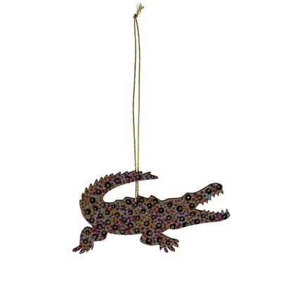 Crocodile themed gifts - Australian made decoration hand painted by Aboriginal Artists in Warlukurlangu