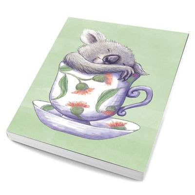 Australian Made Gifts & Souvenirs with the Teacup Koala Notebook -by La La Land. For the best Australian online shopping for a Note Pads