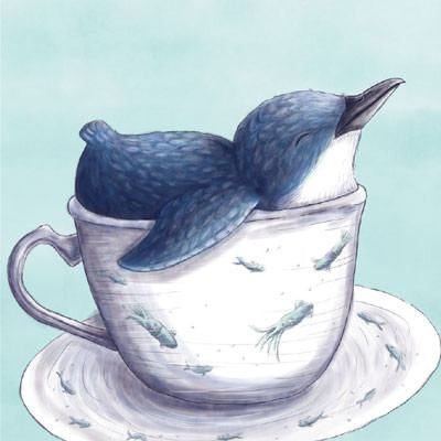 Australian Made Gifts & Souvenirs with the Penguin In A Teacup Mini Card -by La La Land. For the best Australian online shopping for a Greeting Cards