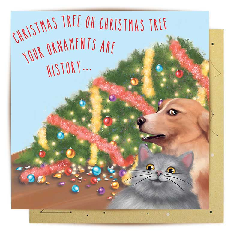 Cat & Dog Christmas Disaster Greeting Card