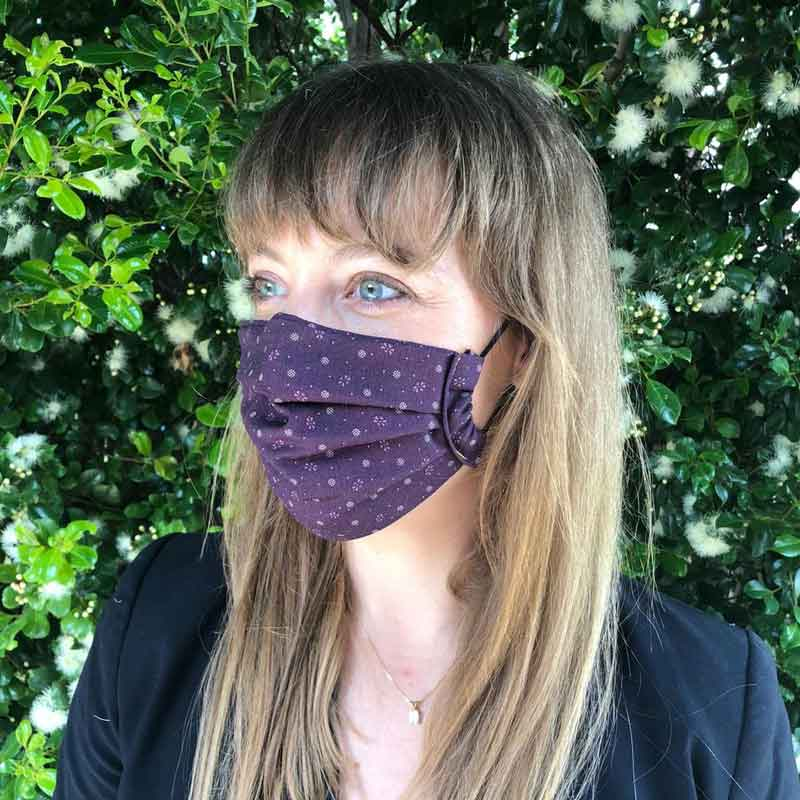 Pleated Reusable Cotton Face Mask Navy Blue