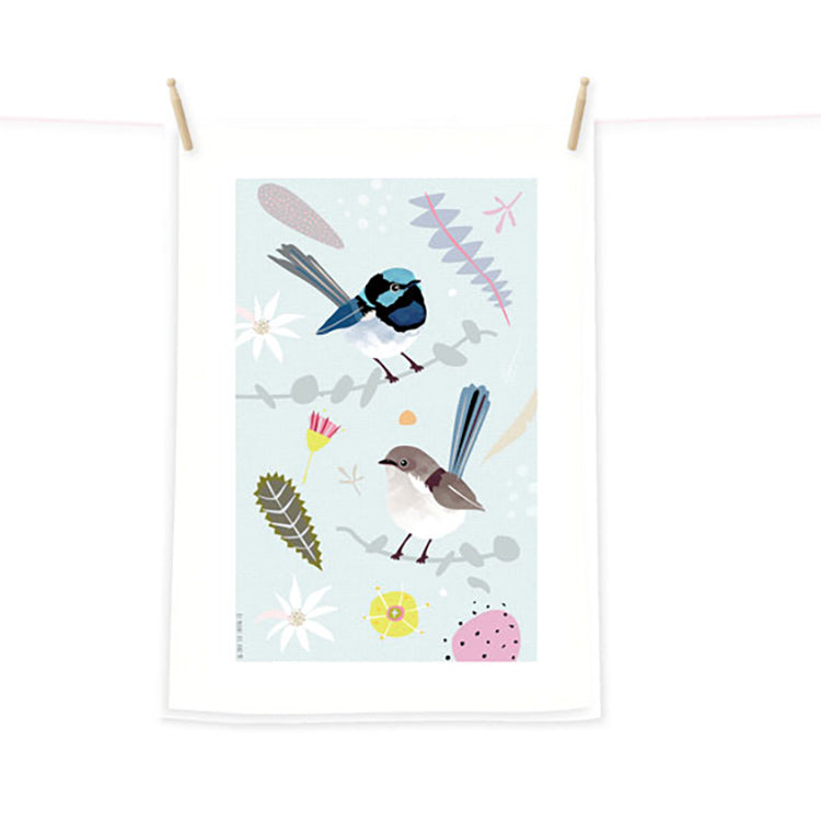 Australian Made Fairy Wrens Tea Towel Mount Vic & Me
