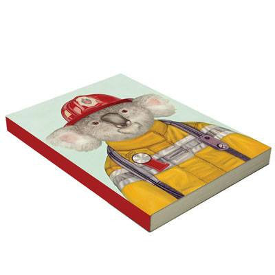 Australian Made Gifts & Souvenirs with the Fireman Koala Notebook -by La La Land. For the best Australian online shopping for a Note Pads