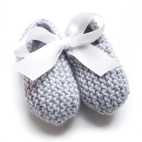 Grey Hand Knitted Baby Booties