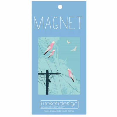 Souvenir Magnet - Galahs on the Electricity Lines Australia
