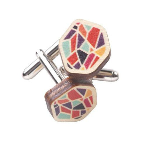 Wooden Rainbow Garnet Cufflinks