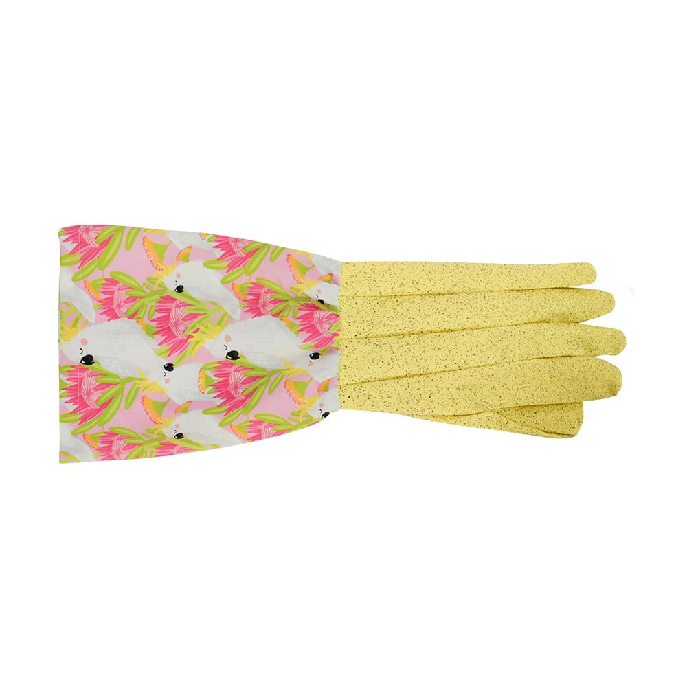Gifts for Gardeners Australia Long Sleeve Gardening Gloves Pink Cockatoo