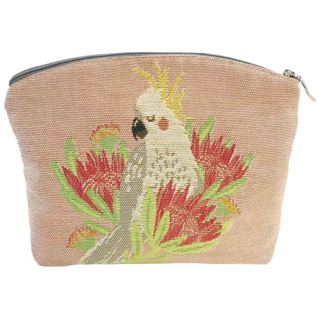 Australian Gifts for Women, Cockatoo Tapestry Cosmetic Bag Handmade in Australia