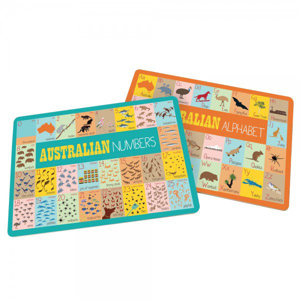 Australian themed alpahabet and numbers placemats for kids