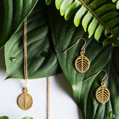 Gold Beech Leaf Pendant Necklace
