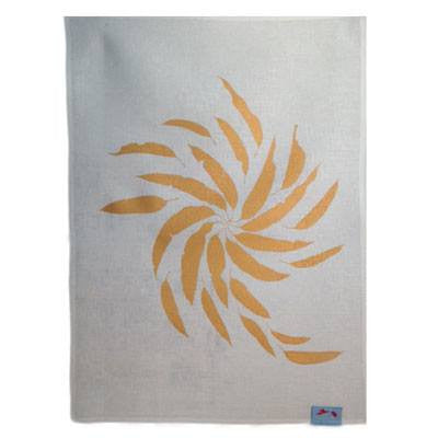 Australian Made Gifts & Souvenirs with the Gold Gum Leaves Tea Towel -by Laughing Bird. For the best Australian online shopping for a Tea Towels