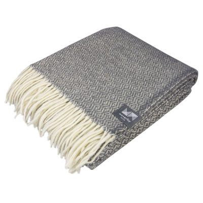 Grey Diamond Merino Wool Throw
