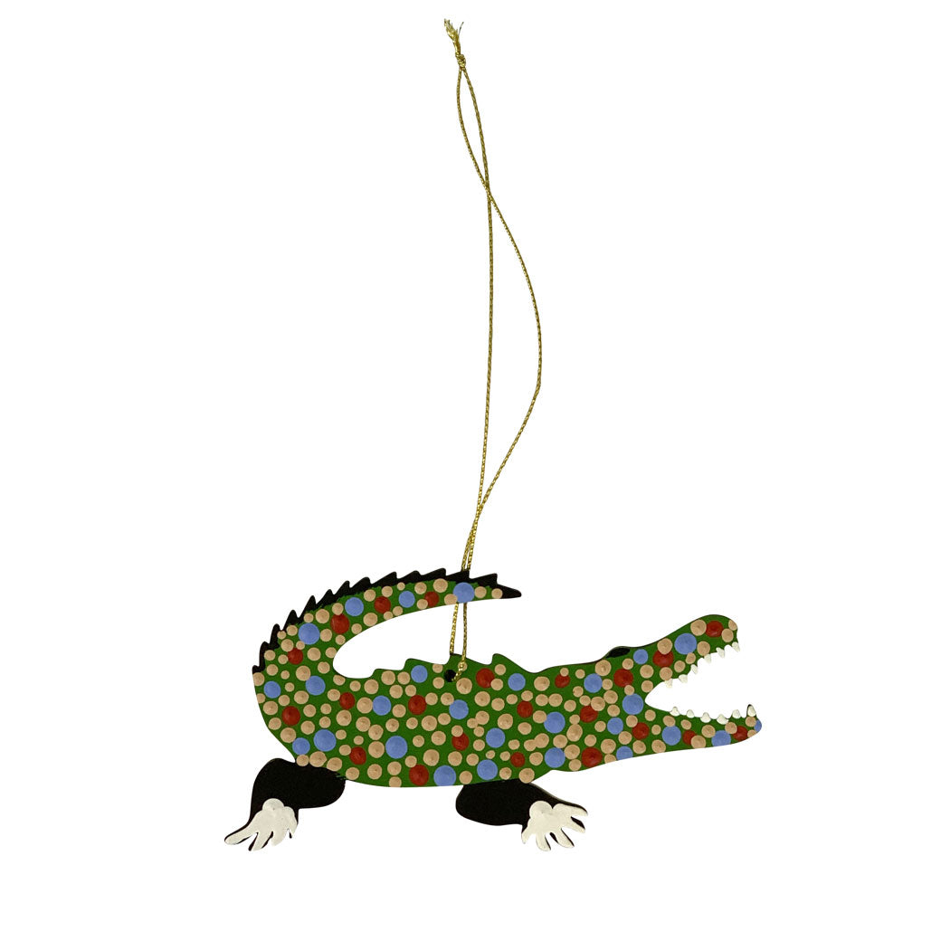 Crocodile Souvenirs Australia - Hand Painted Decoration by Warlukurlangu Aboriginal Artitsts