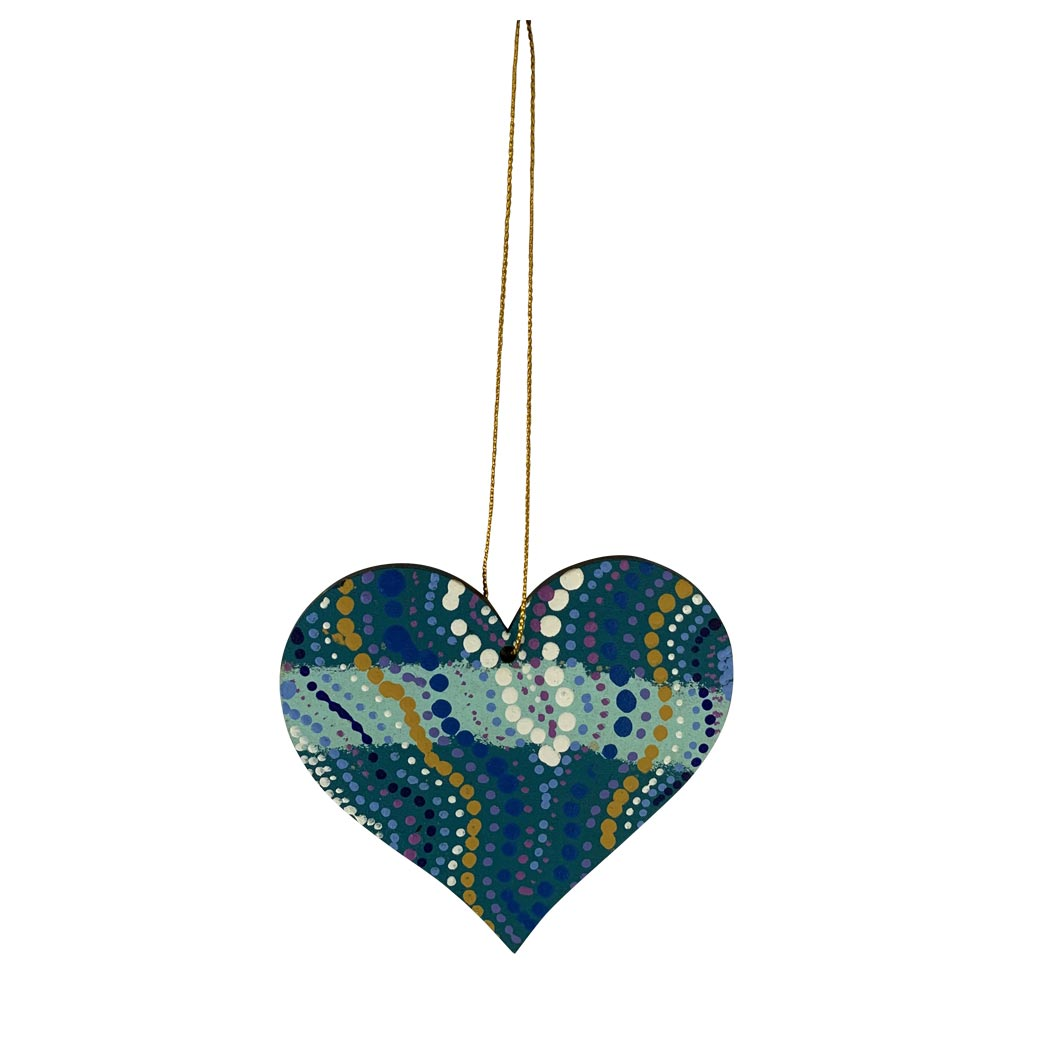 Authentic hand painted Australian Aboriginal products Heart decoration