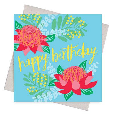 Australian Made Gifts & Souvenirs with the Waratah Happy Birthday Card -by Earth Greetings. For the best Australian online shopping for a Greeting Cards