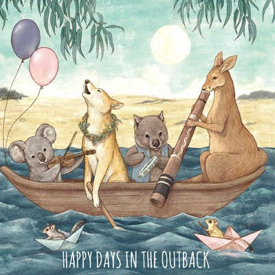 Australian Made Gifts & Souvenirs with the Happy Days In The Outback Greeting Card -by La La Land. For the best Australian online shopping for a Greeting Cards