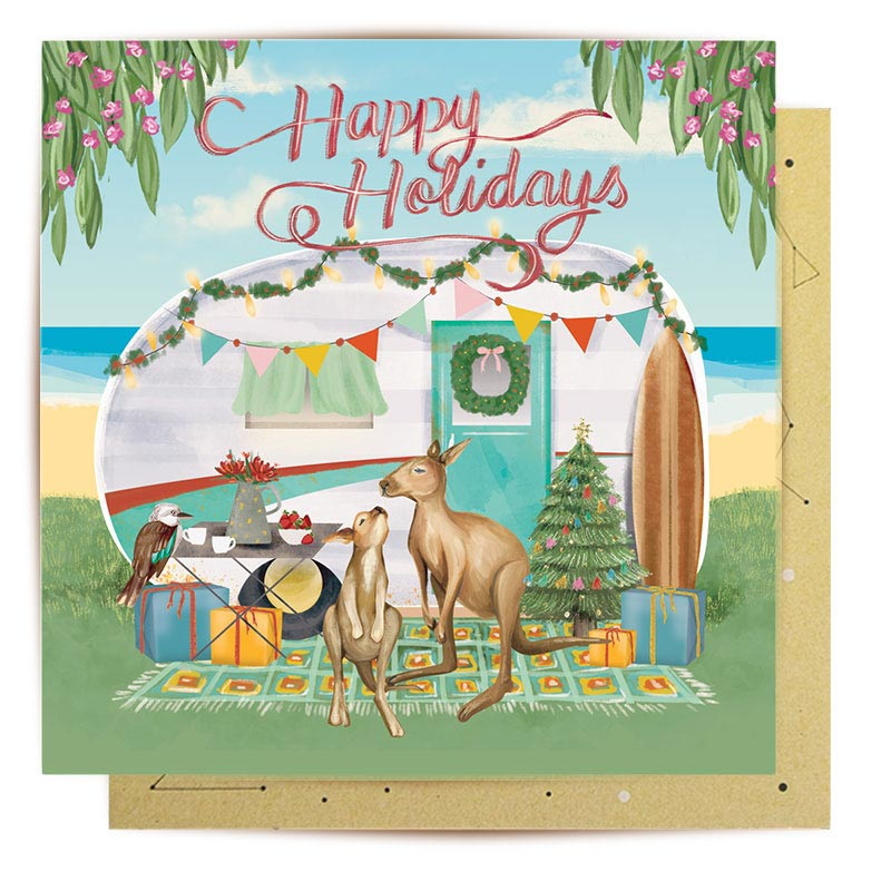Happy Holidays Australian Themed Greeting Card