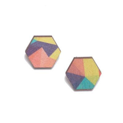 Australian Made Gifts & Souvenirs with the Holiday Wooden Studs -by Polli. For the best Australian online shopping for a Jewellery