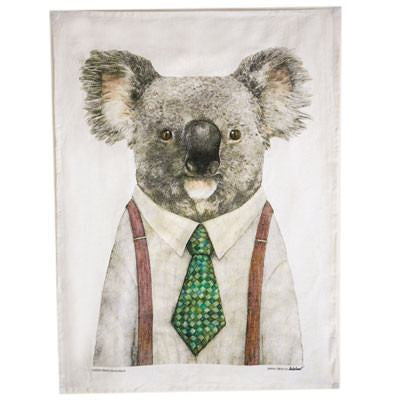 Australian Made Gifts & Souvenirs with the Hipster Koala Tea Towel -by La La Land. For the best Australian online shopping for a Tea Towels