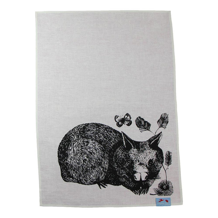Australian Made Gifts & Souvenirs with the Wombat Tea Towel -by Laughing Bird. For the best Australian online shopping for a Tea Towels - 1