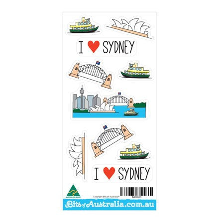 Australian Made Gifts & Souvenirs with the I Love Sydney Sticker Sheet -by Bits of Australia. For the best Australian online shopping for a Souvenirs - 1