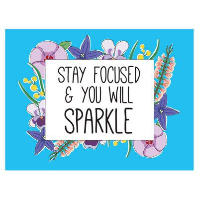 Australian Made Gifts & Souvenirs with the Stay Focused & Sparkle Magnet -by Bits of Australia. For the best Australian online shopping for a Magnets - 1