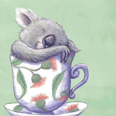 Australian Made Gifts & Souvenirs with the Koala In A Teacup Greeting Card -by La La Land. For the best Australian online shopping for a Greeting Cards