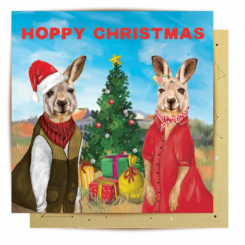 Kangaroo Hoppy Christmas Card Australian Made