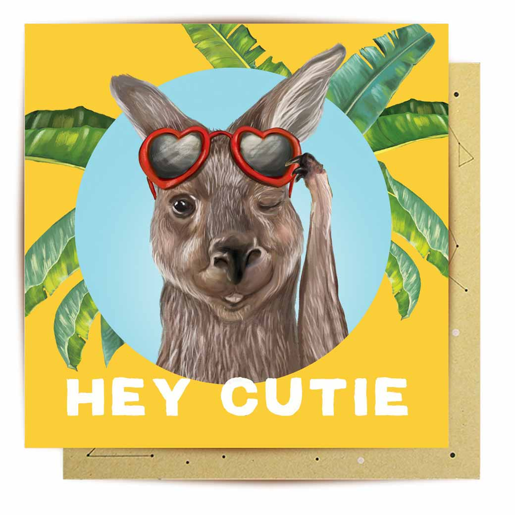 Australian Kangaroo Novelty Greeting Card Hey Cutie