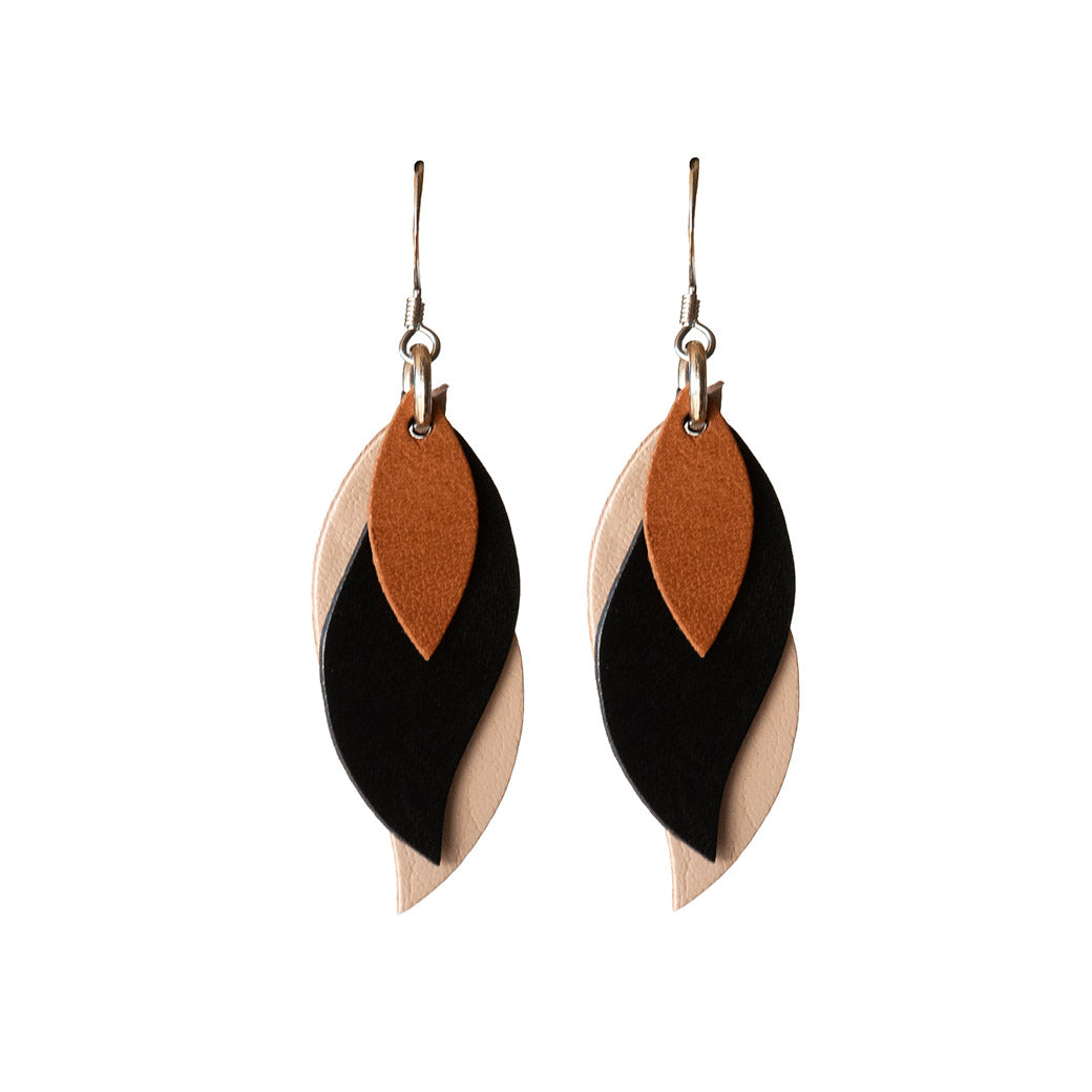 Kangaroo Leather Earrings - Black/Beige
