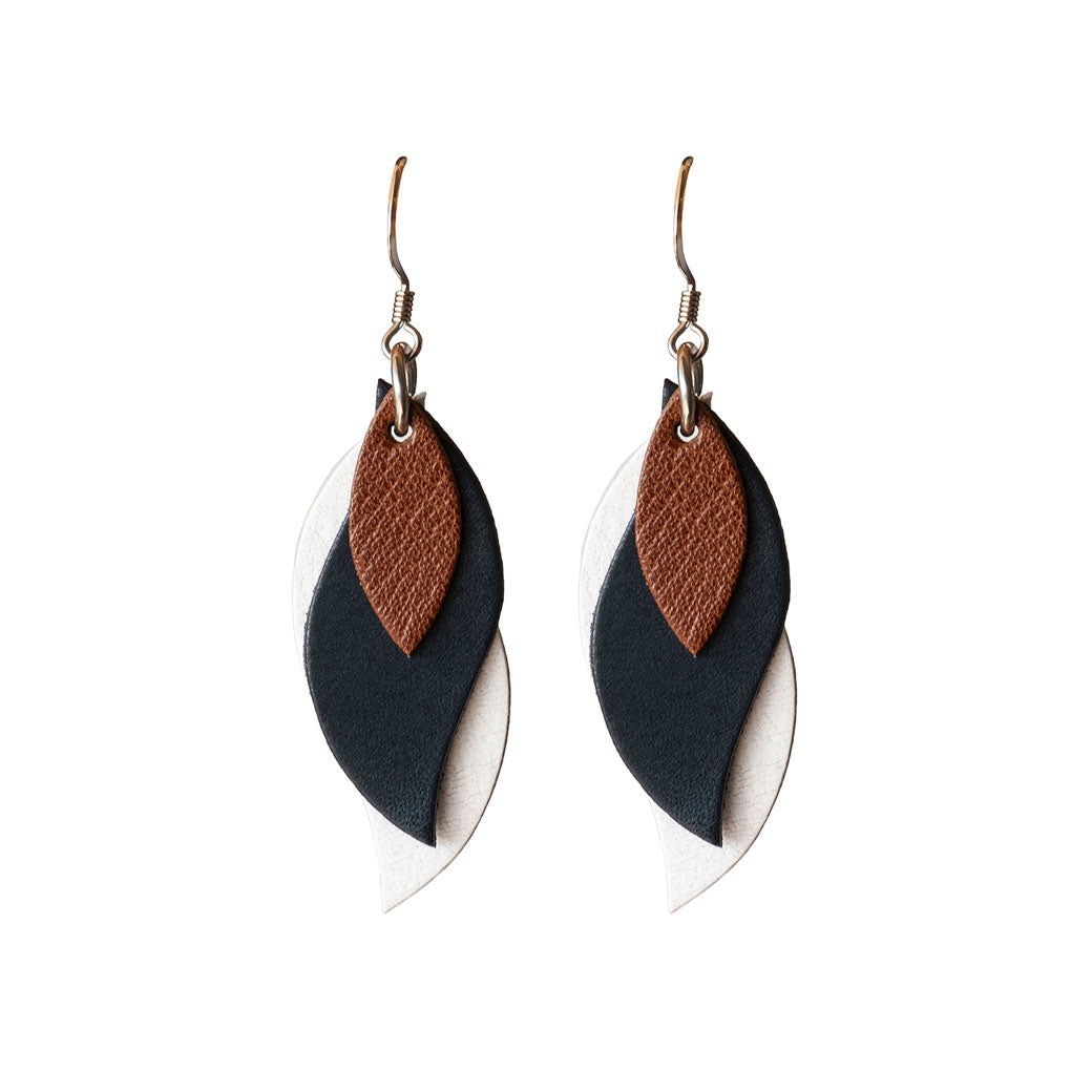 Kangaroo Leather Earrings - Navy/White