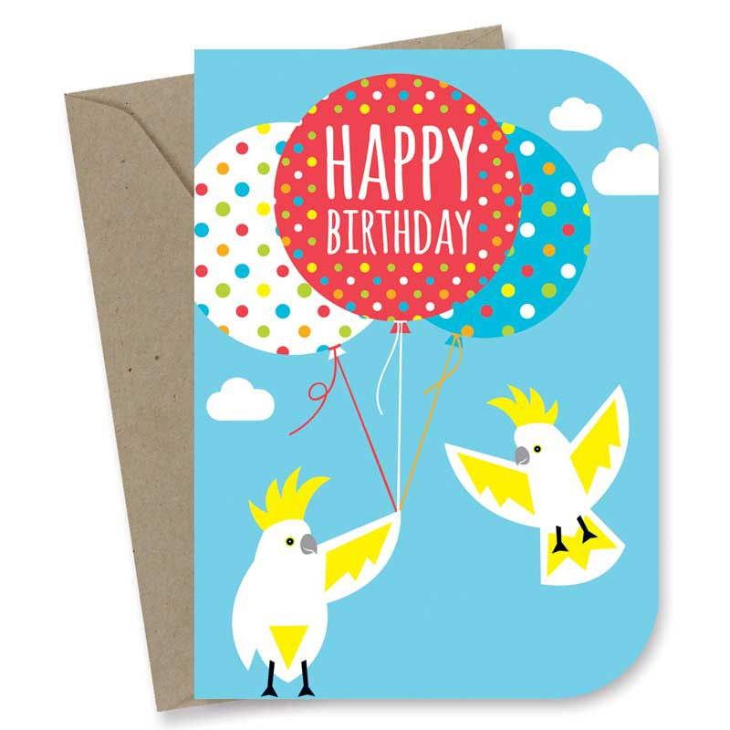 Happy Cockatoos Birthday Card