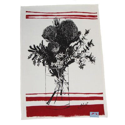Australian Made Gifts & Souvenirs with the Red Bush Flower Essence Tea Towel -by Laughing Bird. For the best Australian online shopping for a Tea Towels