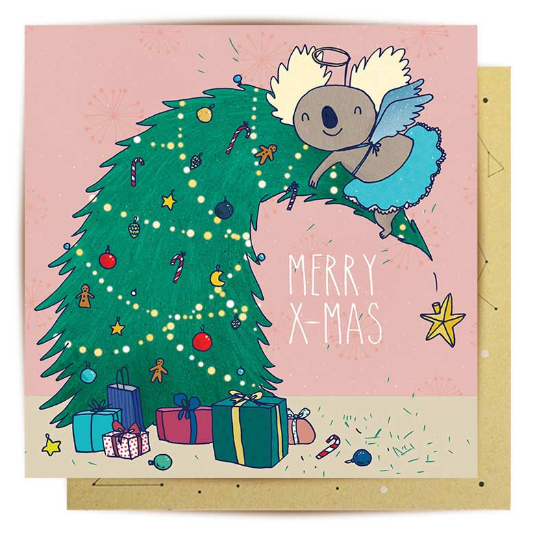 Cheeky Koala Angel Christmas card Australian Made