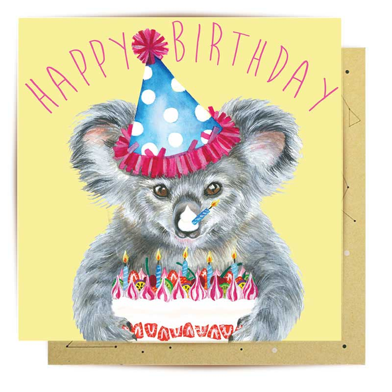 "Koala gifts Australia ""Bearday"" birthday greeting card"