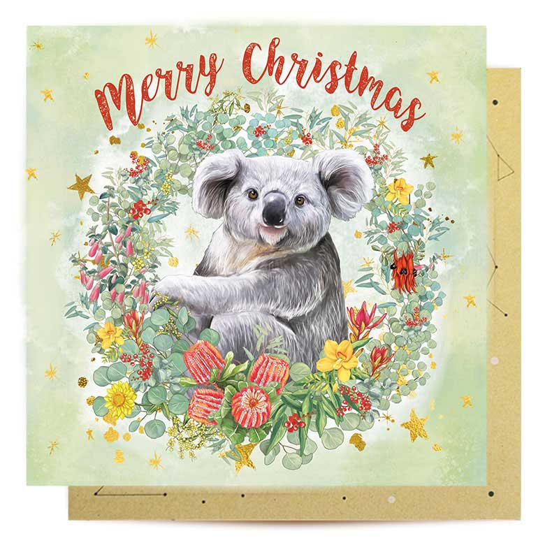 Koala Love Australian Made Christmas Card Wildflower Wreath