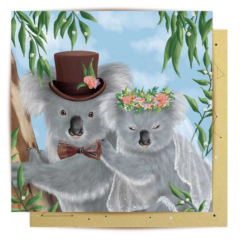 Wedding Gifts Australia - La La Land Koala Wedding Themed Card