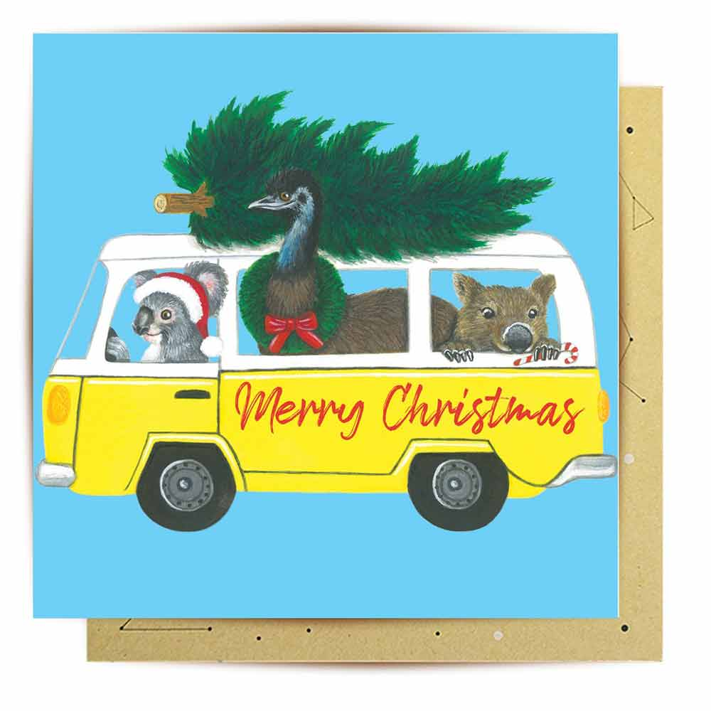 Kombi Australia Themed Christmas Card La La Land