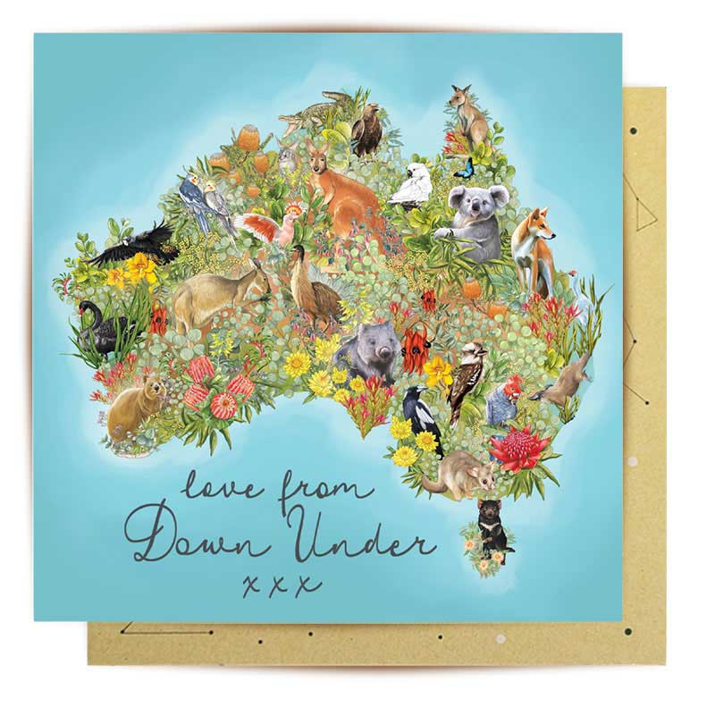 Expats Gifts Australia - Love From Down Under Greeting Card