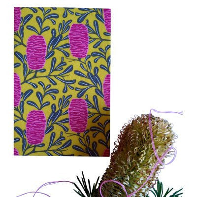 Australian Made Gifts & Souvenirs with the Yellow Banksia Handkerchief -by Hanky Fever. For the best Australian online shopping for a Handkerchief