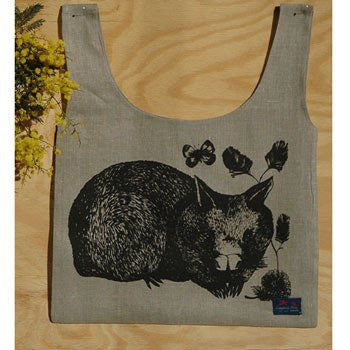 Australian Made Gifts & Souvenirs with the Wombat Linen Carry Bag -by Laughing Bird. For the best Australian online shopping for a Accessories - 1