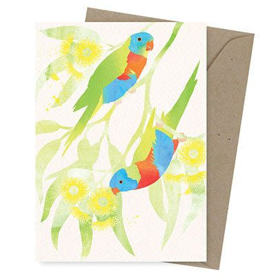 Australian Made Gifts & Souvenirs with the Rainbow Lorikeet Greeting Card -by Earth Greetings. For the best Australian online shopping for a Greeting Cards