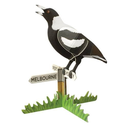 Magpie 3D Construction Postcard