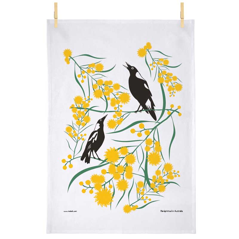 Australian Souvenir Tea Towel - Magpies & Wattle