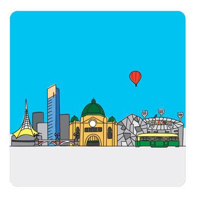 Australian Made Gifts & Souvenirs with the Melbourne Set of 4 Plastic Coasters -by Bits of Australia. For the best Australian online shopping for a Coasters
