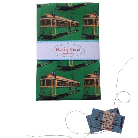 Australian Made Gifts & Souvenirs with the Melbourne Tram Handkerchief -by Hanky Fever. For the best Australian online shopping for a Handkerchief